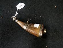 Antique nickle mounted gun priming flask