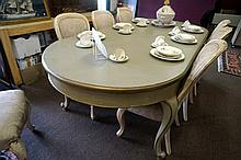 Painted French 3 m long D end 1 leaf ext table