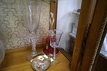 C18th enamel twist & C19th air twist glasses, Edward VII paperweight & ruby