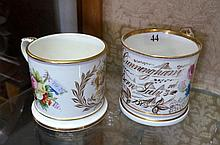 Vic mug h/painted tankard dated 1879 & similar h/painted tankard dated july