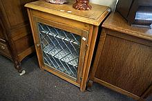 Antique pine leadlight 60 cm wide cabinet