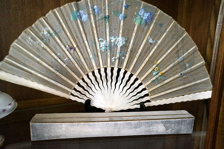 19th Century French Carved Bone Hand Painted Silk Fan In Original Box By A