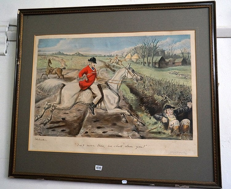 Large hunting print 'dont move there we shall clear you' signed John Leach