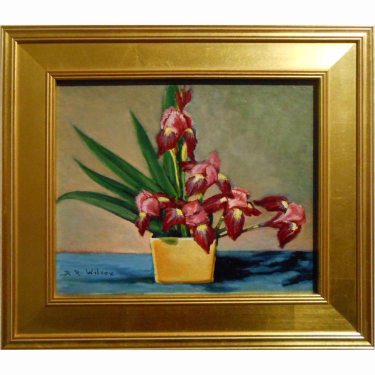 Ruth Rogers Wilcox: Iris Oil Painting
