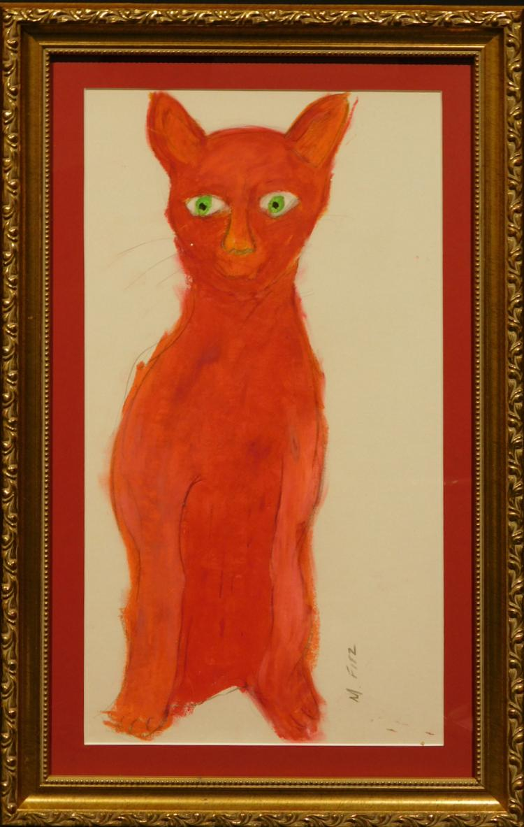 M. Fitz: Red Cat, oil pastel c.1990