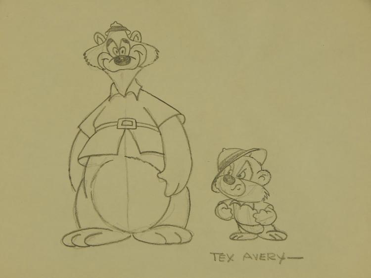 Tex Avery: Bears, Pencil Cartoon Drawing