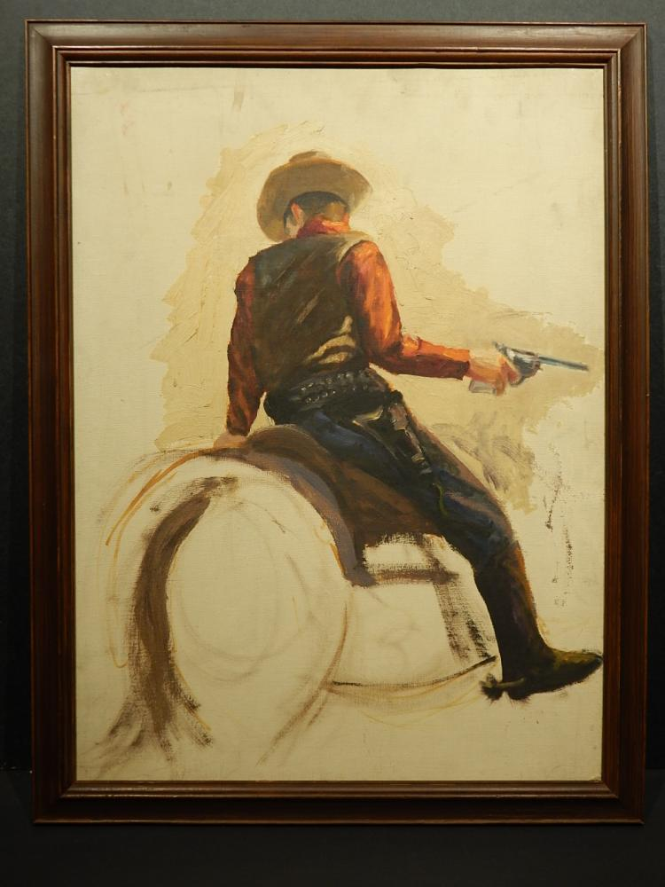Bob LeRose: Cowboy On Horse, Oil c.1945