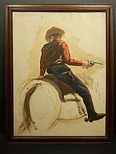 Bob LeRose: Cowboy On Horse, Oil c.1945
