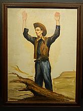 Bob LeRose: Cowboy Surrendering, Oil c.1945