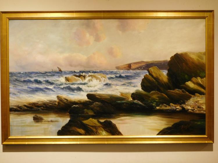 C Fogle: 1908 Oil Seascape