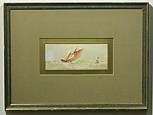 FJ Aldridge: Sail Boat & Bouy on Choppy Sea, c.1880 Watercolor