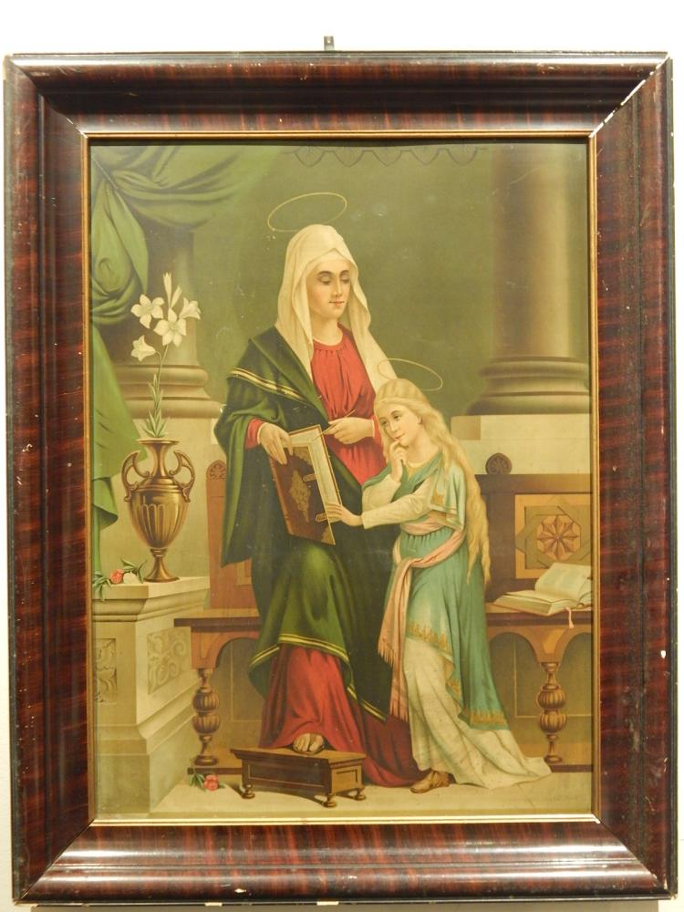 Religious Chromo-lithograph on Tin: St Anne & Mary, 1900