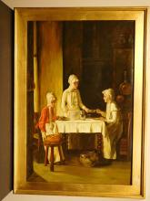 Roberson: Women At A Table, Old Master Copy, Oil