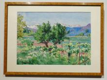 T. Bissinger: Vineyard And Mountains, Watercolor