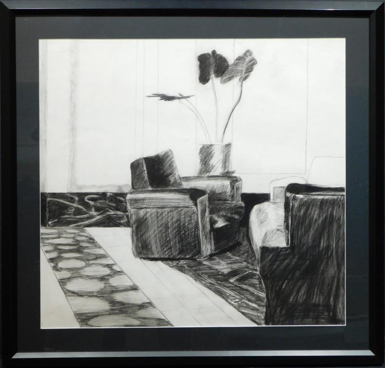 Dina Cheyette: Interior With Chair, Charcoal Drawing c.1970