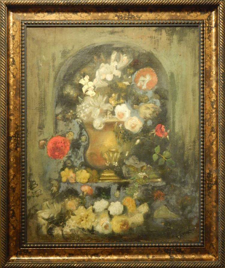 H.L.Severance:  Floral Still Life, Oil/Canvas c.1920