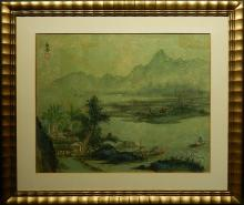 Chinese Watercolor Landscape Painting On Leaf Paper