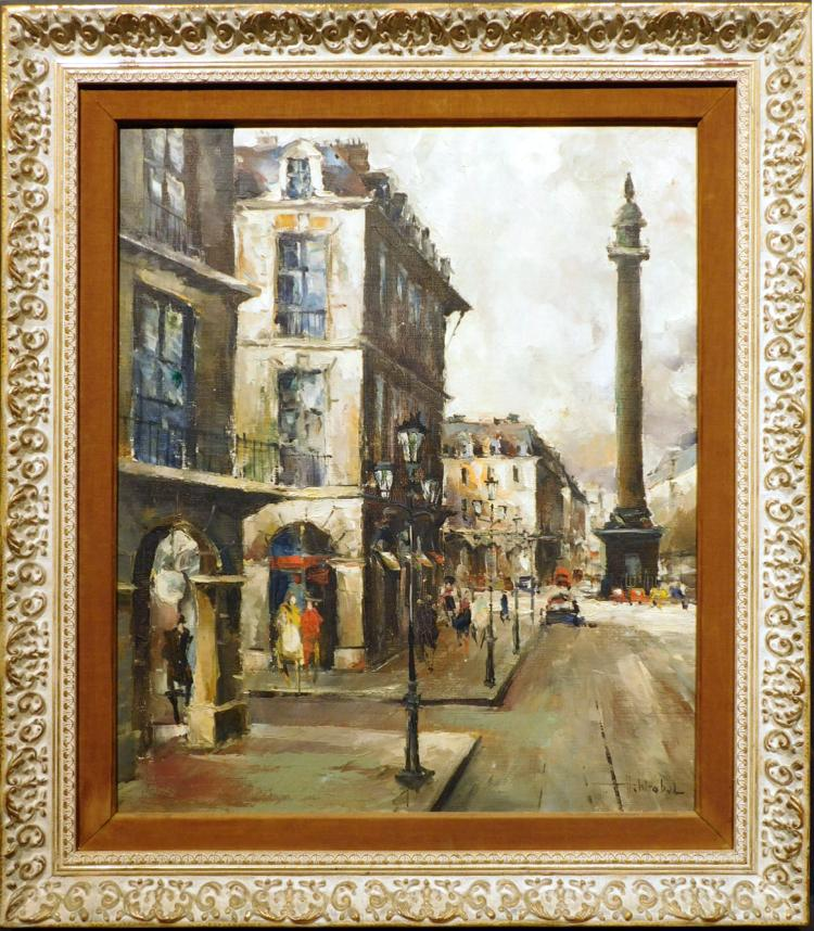H. Wrobol: Paris Street Oil Painting c.1960