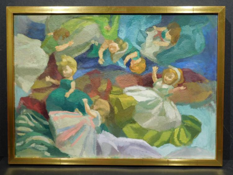 A. Grosman: Doll Collection Still Life Oil Painting