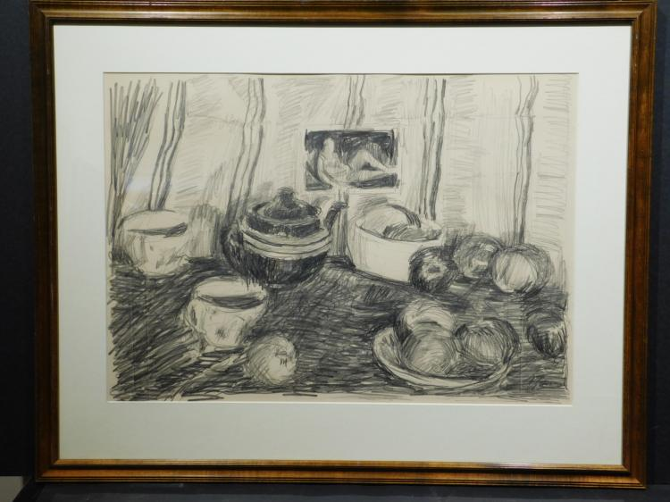 A. Grosman: Still Life With Tea Pot & Fruit, Graphite Drawing