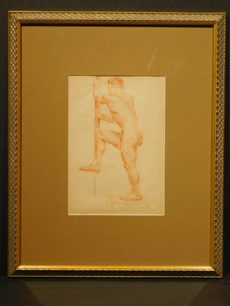 Figure Study Of Male Nude With Pole, Sanguine Drawing 1940