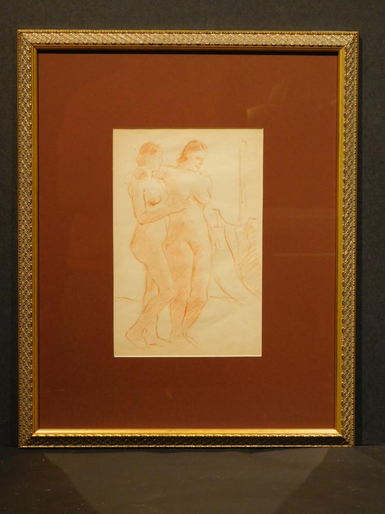 Figure Study Of Two Female Nudes, Sanguine Drawing c.1940