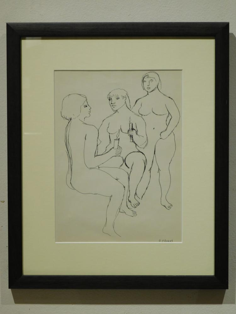 G.J.Rogers: Three Women, Nude Figure Drawing, c.1959
