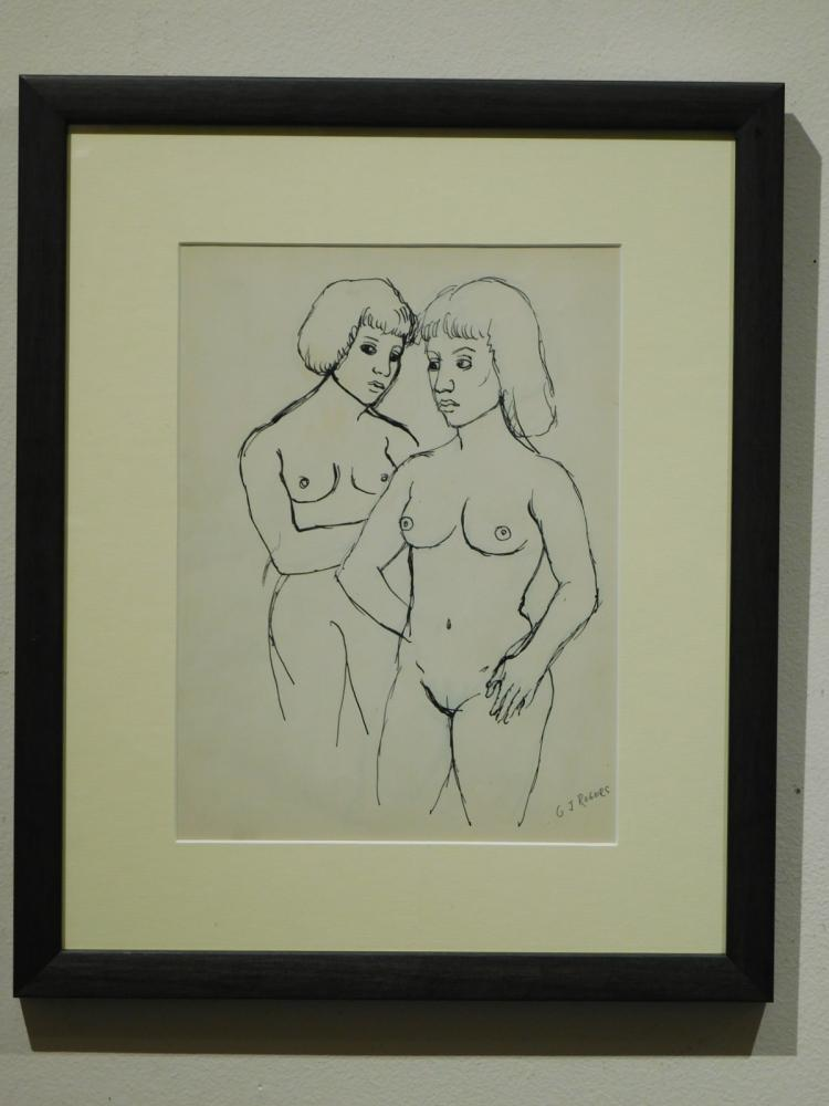 G.J.Rogers: Two Women, Nude Figure Drawing, c.1959