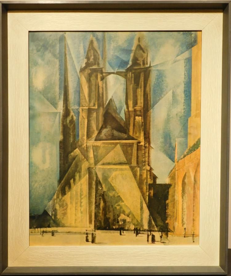 After Lionel Feininger: Cathedral Lithograph, c.1945