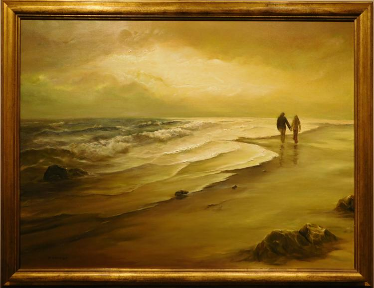 Fenton: Beach Sunset With Couple Walking, Oil