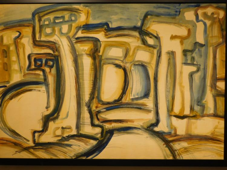 Helen Vaisnoris: Abstract Landscape, 1963 Oil Painting