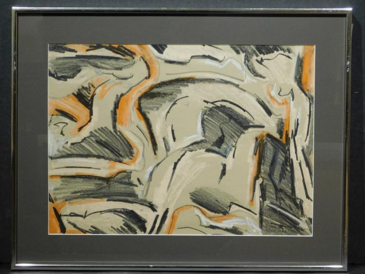 Helen Vaisnoris: Abstract Composition, Pastel c.1965