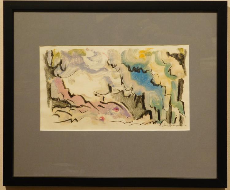 Helen Vaisnoris: Abstract Landscape Monotype, c.1965