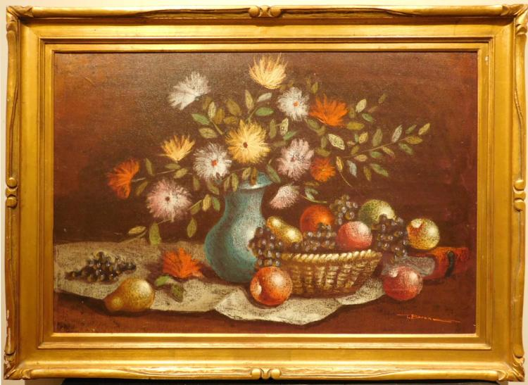 T. Bruno: Modernist Still Life With Fruit And Flowers, Oil, c.1960