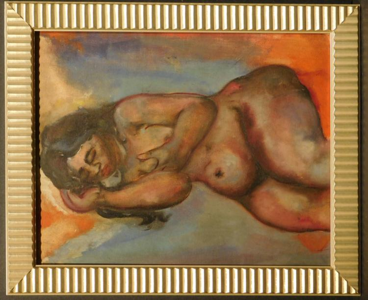 Reclining Female Nude, Oil Painting, c.1940