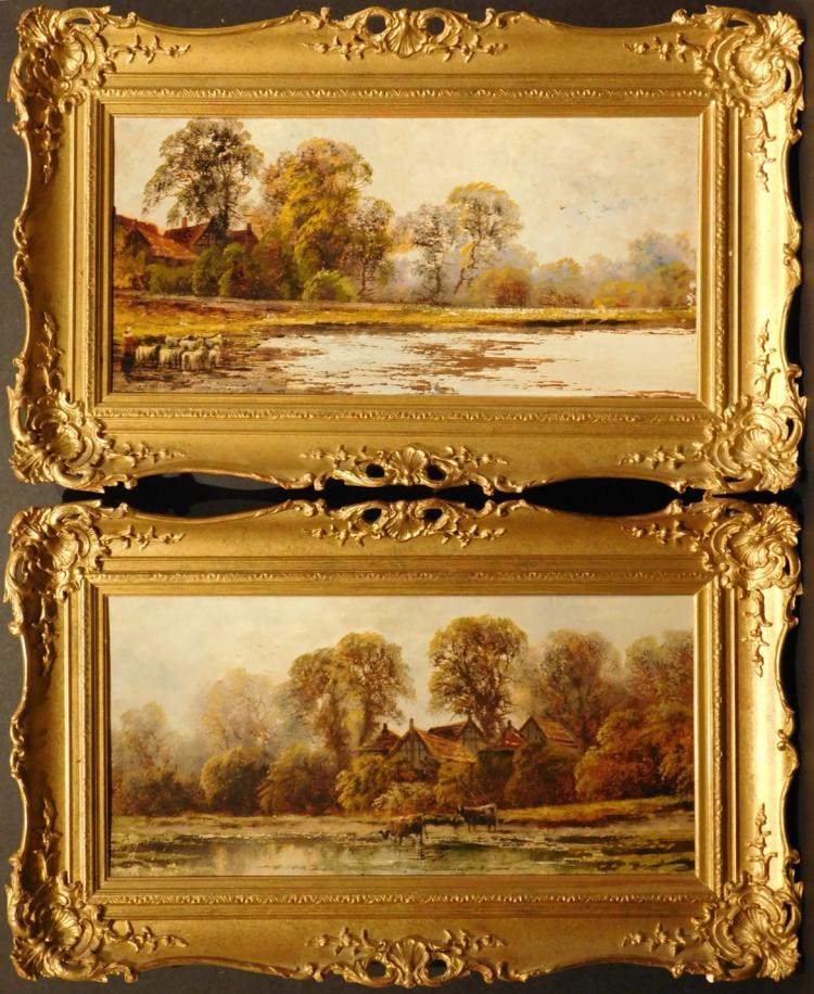 Morris: Pair Of Oil Landscapes in Ornate Frames