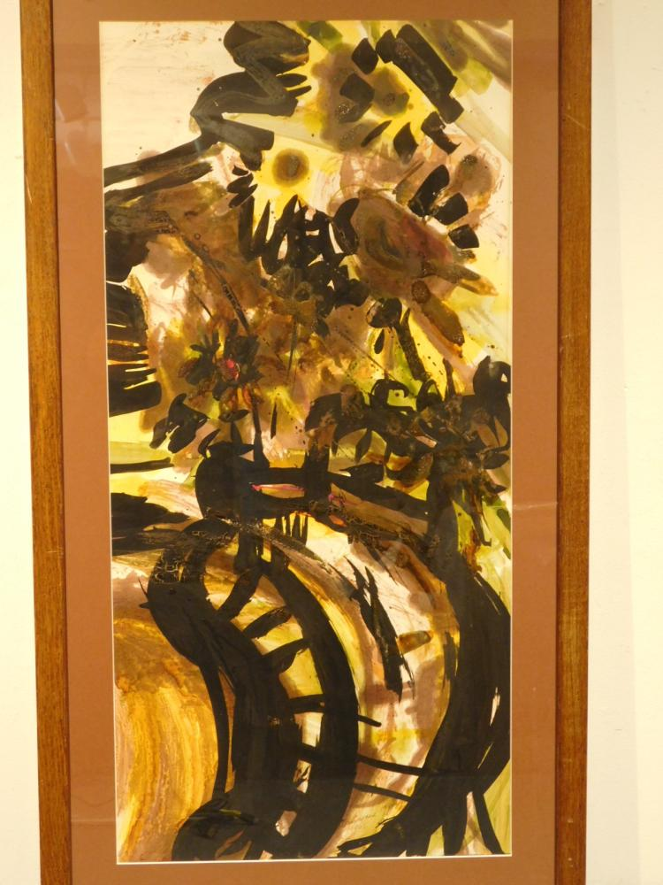 Helen Vaisnoris: Vase of Sunflowers, 1961 oil on paper