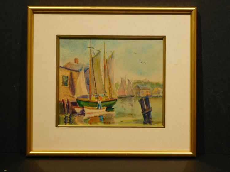 Rosa T. Silva: New Bedford Sail Boats, Watercolor c.1930