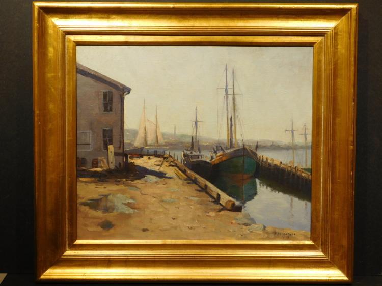 Abraham Rosenthal: Gloucester Fishing Dock, Oil 1948