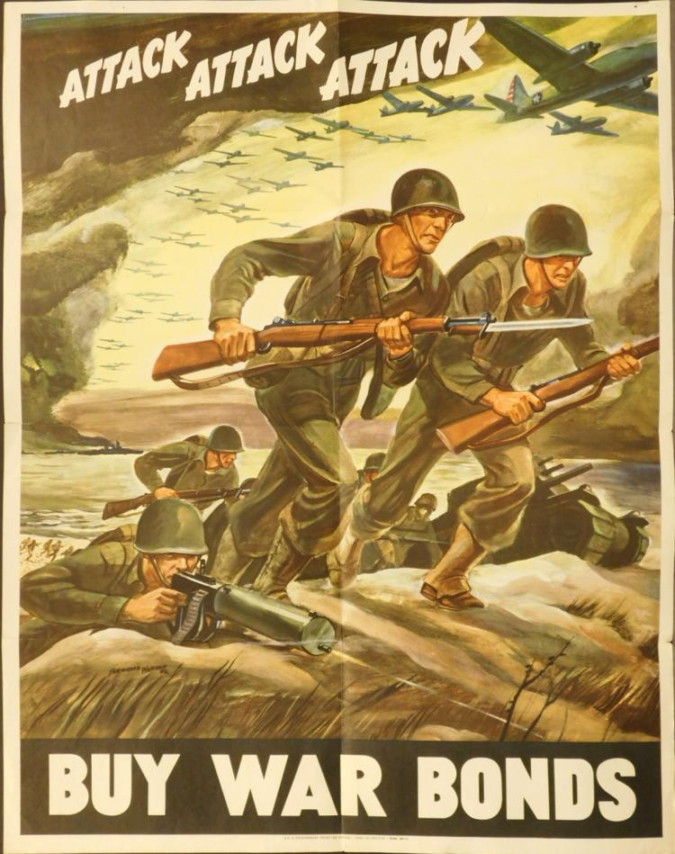 1942 US War Bonds Poster: Attack...