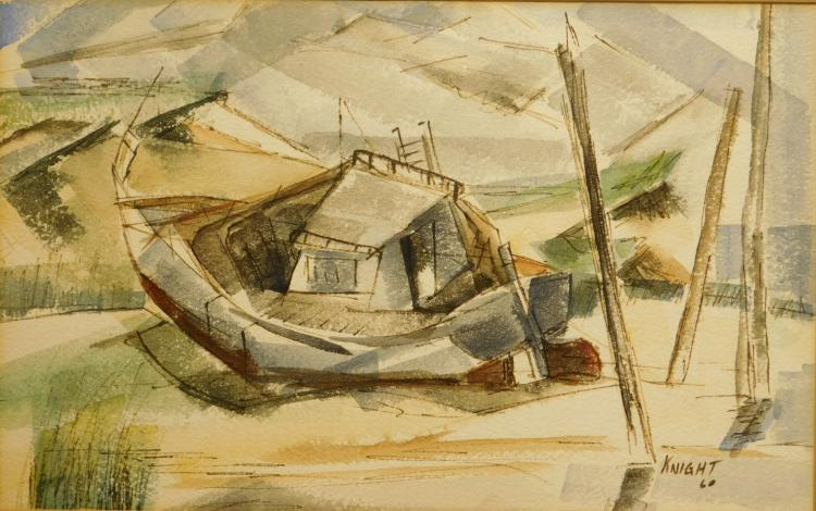 Knight: Cubist Boat Watercolor, 1960