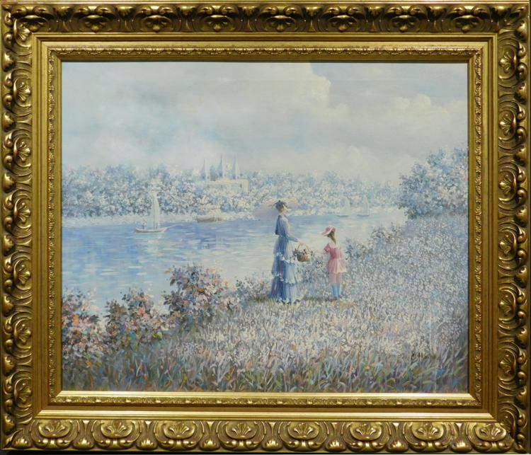 C. Hunter: Woman and Child in Springtime Landscape