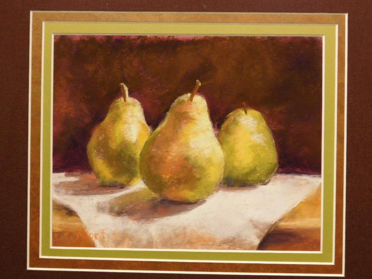 Pam Short: Pears Three pastel still life