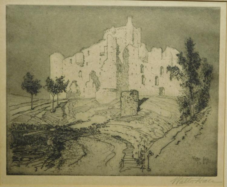 Walter Stearns Hale: The Deserted castle of Torija, 1909 etching