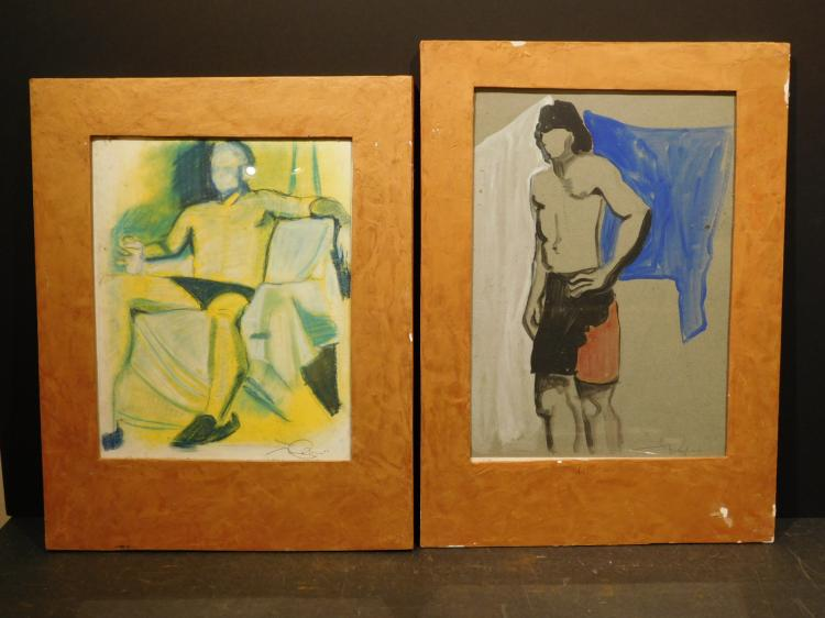 Pair of Male Nudes, 2009, Pastel