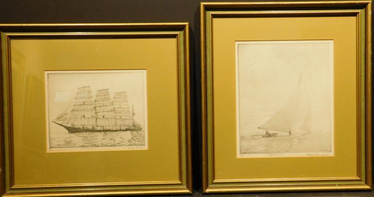Don Swan: Pair of Sailing Etchings c.1940