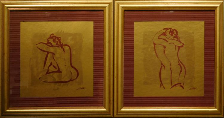 Pair of Framed Female Nude Lithographs