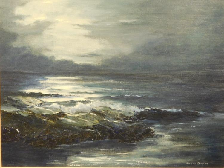 Jessica Quigley: Night Scene, seascape oil c.1980