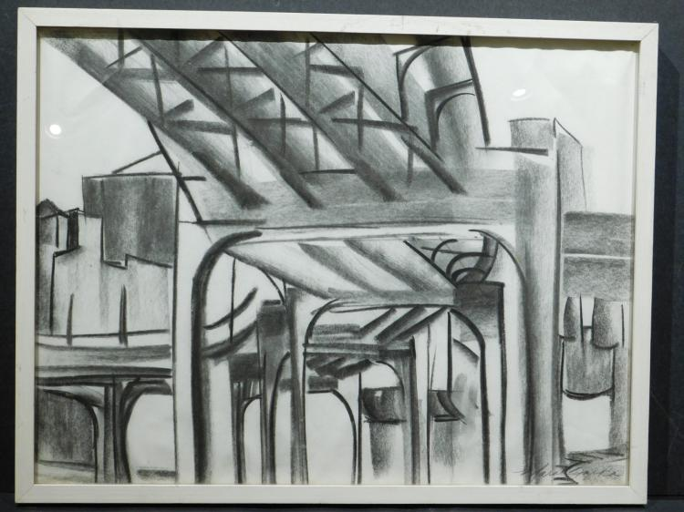 Maria Razika: Construction Site, Charcoal Drawing