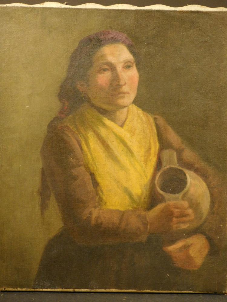 Frank Chester Perry: Woman With Jug, Figure Study, Oil on Canvas